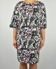 New Asos Curve Botanical Shift Dress Grey Pink Leaves Print Summer Size 20 AZ