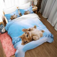 3D Animal Cat Blue Quilt Cover Set Pillowcases Duvet Cover 3pcs Bedding 144