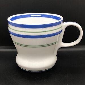 STARBUCKS RETR0 STYLE COFFEE MUG, BLUE STRIPED Ceramic Coffee Cup / Mug 2007