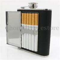 Portable Liquor Wine Stainless Steel Alcohol Flagon Hip Flask + Cigarette Case