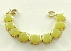 Signed J. Crew Chartreuse Stone Bracelet Faceted Round Glass Gold Tone #122
