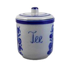 Teebehälter Deckeltopf Tee Teetopf Teedose Vorrat salzglasiertes Steinzeug Grau