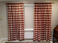 Pair of lined curtains - brown & cream