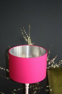 Lampshade, hot pink (Fuchsia) Cotton with Brushed Silver Lining