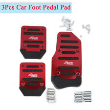 3Pcs Red Racing Manual Car Non-Slip Pedals Pad with Accessories Aluminum Alloy