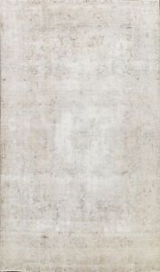 Antique Muted Tebriz Distressed Hand-knotted Evenly Low Pile WOOL Area Rug 8x12