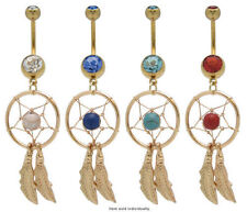 Dream Catcher Belly button navel ring 14g Gold Over  Surgical Steel