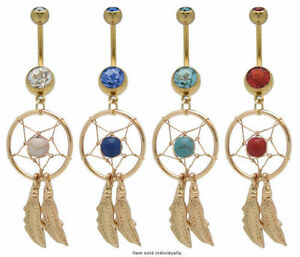 Dream Catcher Belly Button Ring 14g Gold Over Surgical Steel