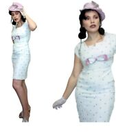 WHITE and PURPLE WIGGLE 1950s Dress PD26 Satin Bow Embroidered butterflies Linen