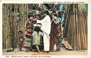 Early PANAMA Indian Family SARATI Island of Carti SAN BLAS   Postcard