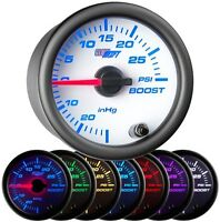 52mm GlowShift White 7 Color 30 PSI Boost / Vacuum Gauge - GS-W701