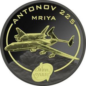 Cook Isl. 2008 1$ Antonov Aircraft Ruthenium & Gilded - AN-225 1 Oz Silver Coin