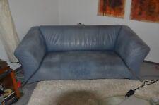 Rolf Benz Sofa 322 2-Sitzer Leder Nubuk graublau