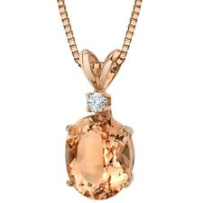 14K Rose Gold Oval Shape 2.50 ct Morganite Diamond Pendant, 18""