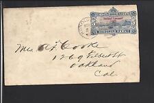 HONOLULU, HAWAII 1896 KINGDOM COVER, 5CT OVERPRINTED ENTIRE.