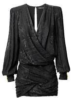 BALMAIN x H&M Black Jacquard Weave Silk V-neck Low-Cut Draped Skirt Dress EUR 34