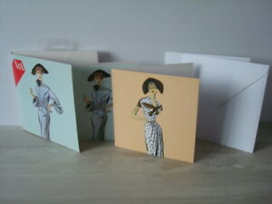 V&A House Of Worth Fashion Drawings 8 x Notecards & Envelopes - 2 Designs - NEW