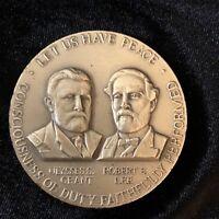 Civil War Centennial Commission Solid .999 Fine Silver Medal Grant & Lee
