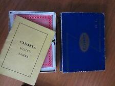 VINTAGE WADDINGTONS BLUE BOX CANASTA Gioco di carte e le regole in stile retrò