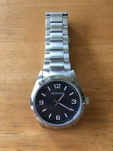 Men's Tourneau Wrist Watch Silver Metal Band