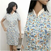 Vintage 60s 70s Cotton Piped Ditsy Floral Belted Sporty Shift Dress S 8 10 36