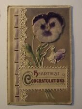 HEARTIEST CONGRATULATIONS, PURPLE APPLIED FELT FLOWER Vintage POSTCARD