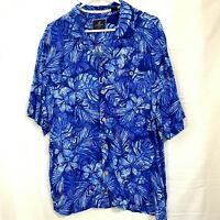 Caribbean Joe Mens Hawaiian Aloha Beach Tropical Camp Shirt Blue Size L