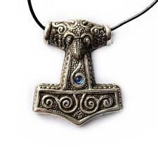 Plata esterlina Viking Azul Skane martillo mjolnir Thor's Colgante Collar De Cable