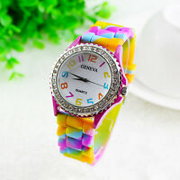 Lady Women's Silicone Crystal Diamante Fashion Jelly Rainbow Strap Wrist Watch