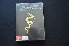THE GIRL WITH THE DRAGON TATTOO RARE NEW SEALED 4 DISC TRILOGY BOXSET DVD!