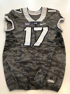 Game Worn Used Nike TCU Horned Frogs Football Jersey Size 40 #17