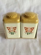 Vintage 1970's Style Butterfly Salt Pepper Shakers. New In Package Sterilite