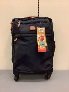 """NWT BRIC'S Navy Blue 21.5"""" Carry On Trolley Nylon/Leather Cabin Size Suit Case"""