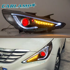 LED Audi Look Headlights For Hyundai Sonata 2011-2014 Demon Eyes Front Lamps