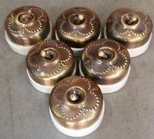 6 Pc Rare Vintage Brass & Ceramic Porcelain Light Electric Switches Button