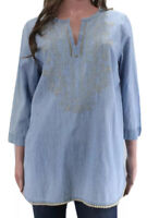 J Jill Denim Tunic Top size Medium Blue Chambray Floral Embroidered V Neck