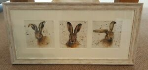 Bree Merryn Framed Hare picture trio of prints / triptych Landscape