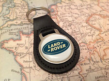 LAND ROVER DEFENDER RANGE ROVER DISCOVERY Quality Black Real Leather Keyring