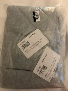 Pottery Barn Mineral Blue Belgian Flax Linen Diamond Quilted EURO Sham 26x26 NEW