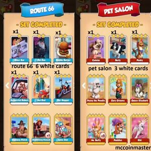 COIN MASTER route 66 & pet salon set white cards (9 cards )