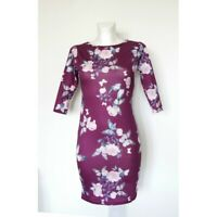 ex High Street Red Violet Butterfly Print Bodycon Dress 3/4 Sleeve