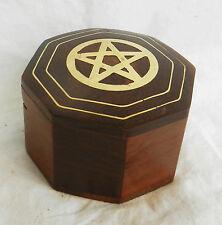 Caja De Madera Octogonal Con Pentagrama/Star con incrustaciones de latón Decoración-Nuevo Y En Caja