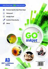 100 Sheets A3 Glossy Photo Paper 260gsm Extra 5 Sheets Per Pack by GO Inkjet