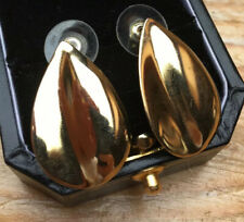 Big Vintage Gold Tone Oval Panel Earrings/Studs/Chunky/Retro Style/1970's/80's