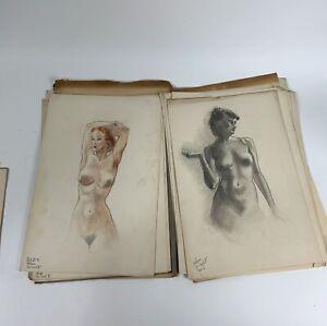 1930's vintage art student study nude & fashion drawings portfolio