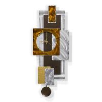 Statements2000 Modern Metal Wall Clock Art Brown Silver Decor Jon Allen Tectonic