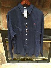 Ralph Lauren Polo Mens Linen Button Down Long Sleeve Shirt Navy Size XXL NWT