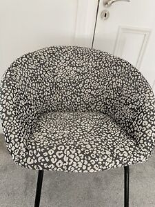 Grey Bedroom Chair Leopardskin Fabric Upholstery NEW Sturdy