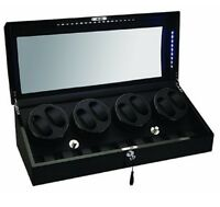 Diplomat 8+9 Watch Winder w/ Storage Ebony Black Wood and Leather w/ LED 34-514