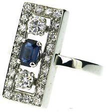 ladies 18Carat 18ct white gold diamonds sapphire ring Art Deco design size N